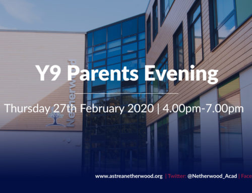 Year 9 Parents Evening – Thursday 27th February 2020