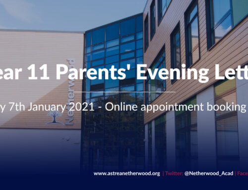 Year 11 Parents' Evening – Thursday 7th January 2021 – 4.30pm – 7.30pm